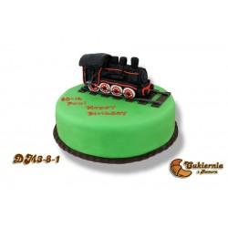Tort z figurką lokomotywy