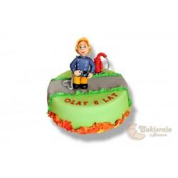 Tort z figurką strażaka