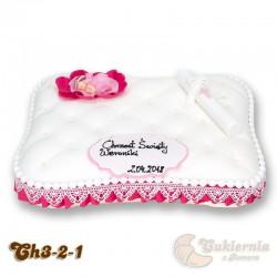 Tort na chrzest święty w kształcie poduszki