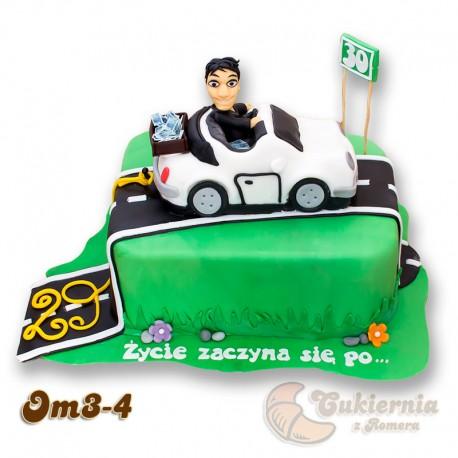 Tort z figurką samochodu i mężczyzny